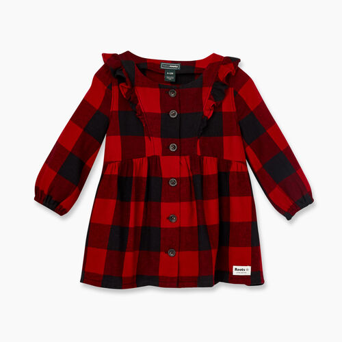 Roots-New For November Kids-Baby Park Plaid Flannel Dress-Cabin Red-A