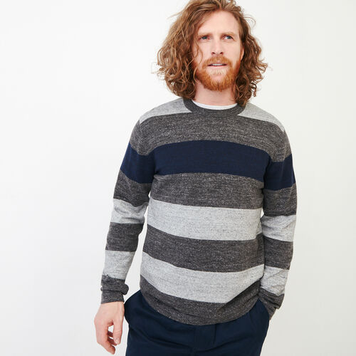 Roots-Clearance Men-Shall Lake Stripe Crew Sweater-Grey Mix-A