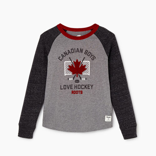 Roots-Kids Our Favourite New Arrivals-Boys Love Hockey T-shirt-Black Pepper-A