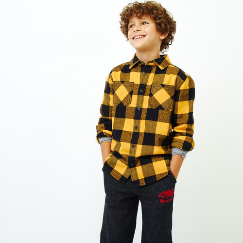 Roots-Kids Categories-Boys Park Plaid Shirt-Squash Yellow-A