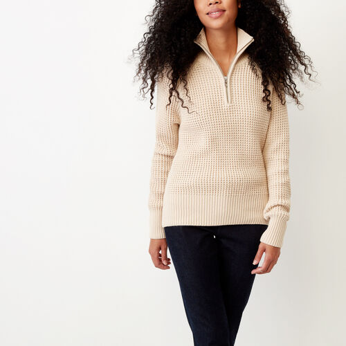 Roots-Clearance Women-Kitimat Waffle Stein Sweater-Sand-A
