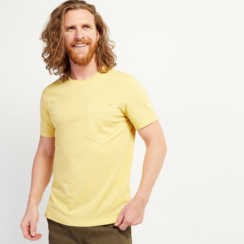 Roots-Men Clothing-Essential Pocket T-shirt-Amber Yellow-A