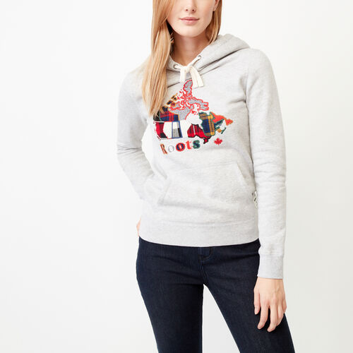 Roots-Women Sweats-Canada Plaid Hoody-Snowy Ice Mix-A