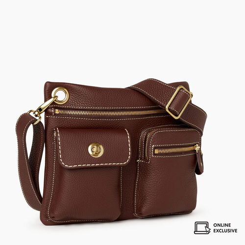 Roots-Leather Crossbody-Village Bag Parisian-Chocolate-A