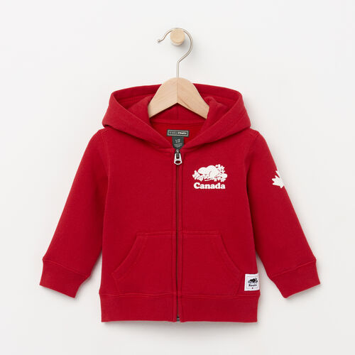Roots-Kids Tops-Baby Canada Full Zip Hoody-Sage Red-A