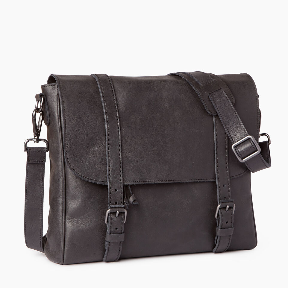 Roots-Leather Tribe Leather-Modern Satchel Tribe-Jet Black-A
