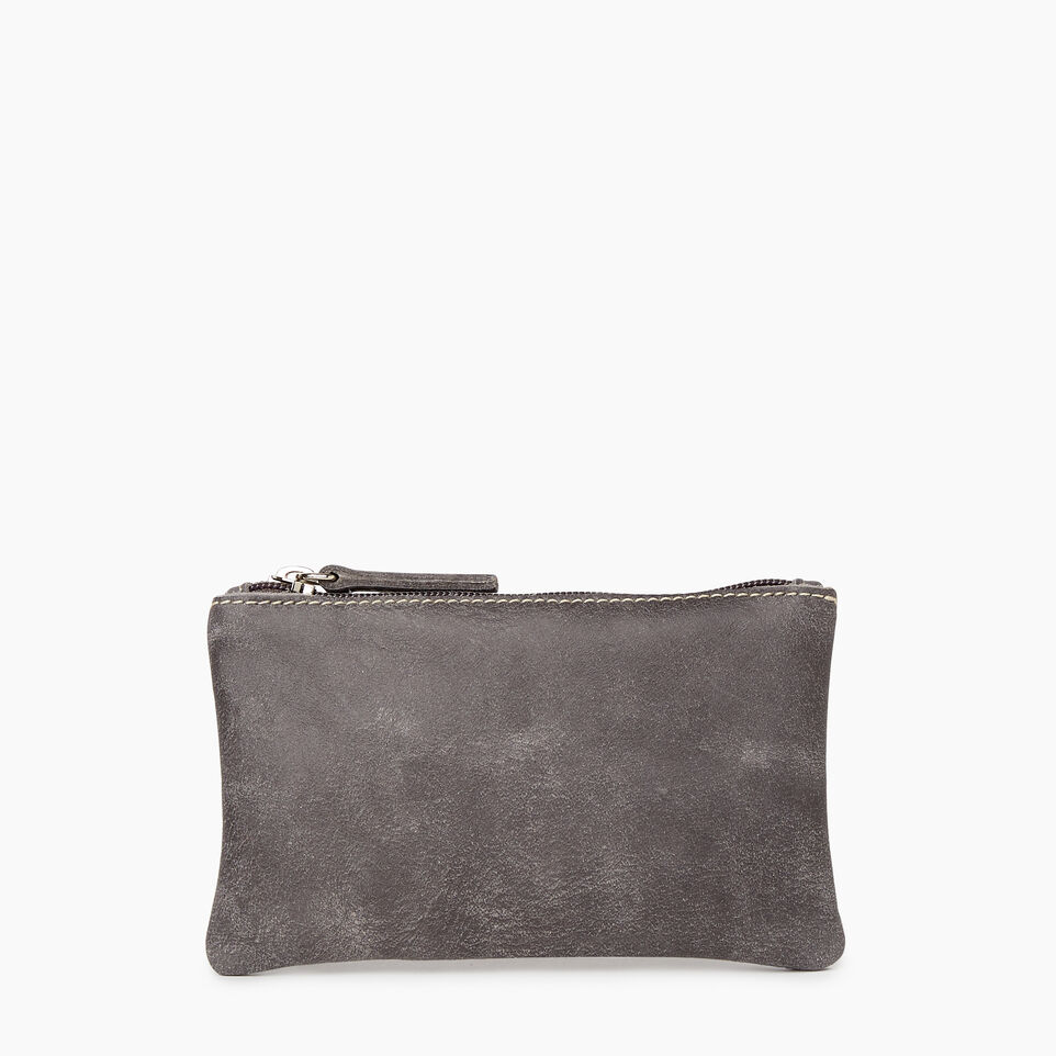 Roots-Leather Categories-Medium Zip Pouch-Charcoal-A