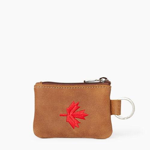 Roots-Leather Our Favourite New Arrivals-Maple Leaf Top Zip Pouch-Natural-A