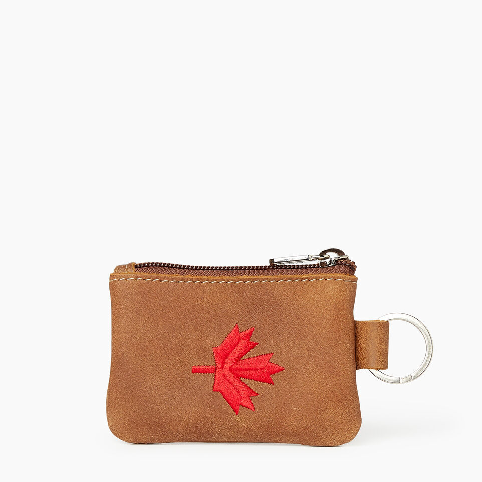 Roots-Leather  Handcrafted By Us Our Favourite New Arrivals-Maple Leaf Top Zip Pouch-Natural-A