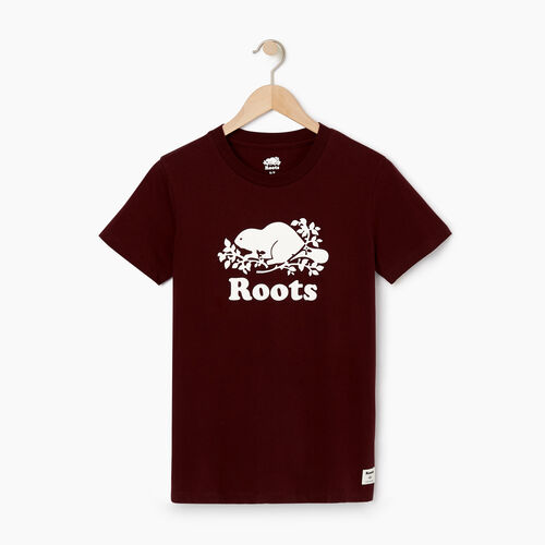 Roots-Women Graphic T-shirts-Womens Cooper Beaver T-shirt-Crimson-A