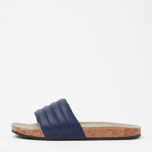 Roots-Women Footwear-Womens Roots Slide Leather-Navy-A