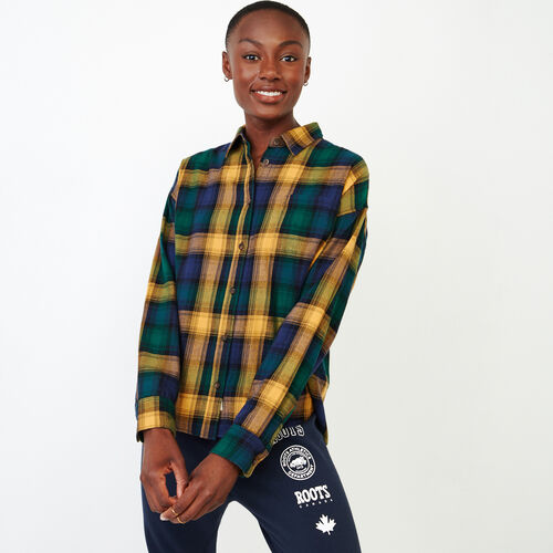 Roots-Women Our Favourite New Arrivals-Box Cut Flannel Shirt-Varsity Green-A