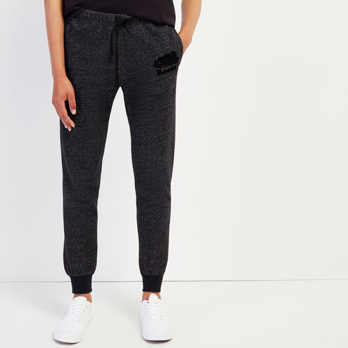 Roots-Women Slim Sweatpants-Slim Cuff Sweatpant - Tall-Black Pepper-A