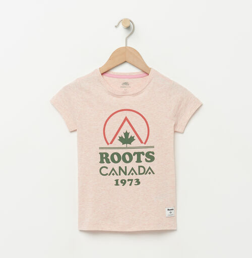 Roots-Kids Graphic T-shirts-Girls Classic Camp T-shirt-Pale Blush Mix-A
