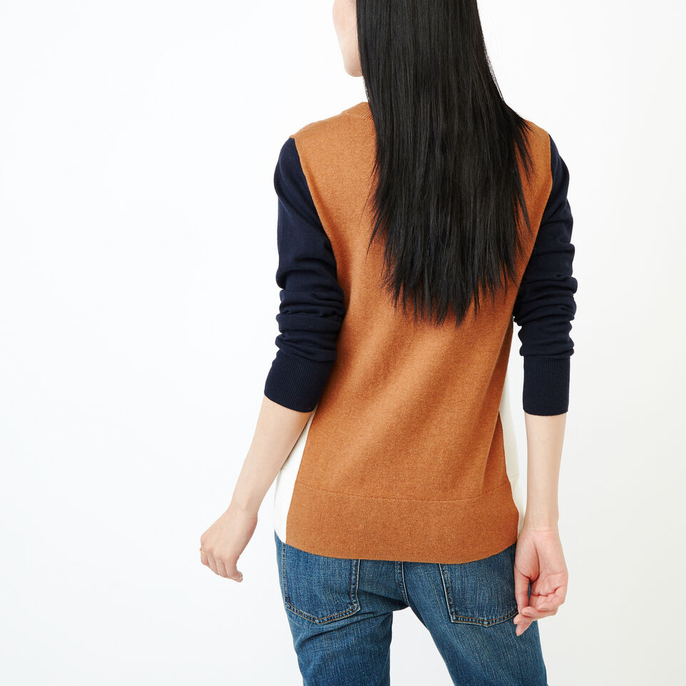 Roots-Women Sweaters & Cardigans-Colour Blocked Sweater-Brown Sugar-D