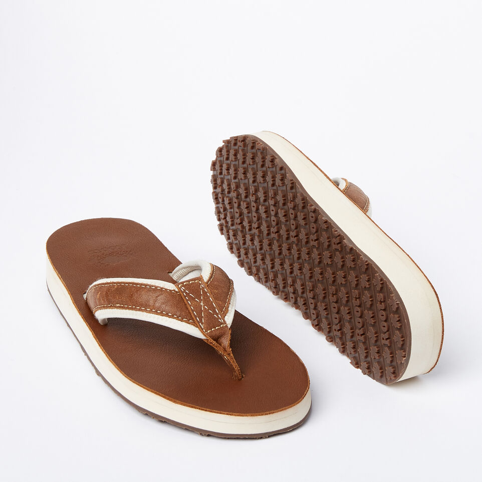Roots-Women Footwear-Womens Tofino Flip Flop Leather-Natural-E