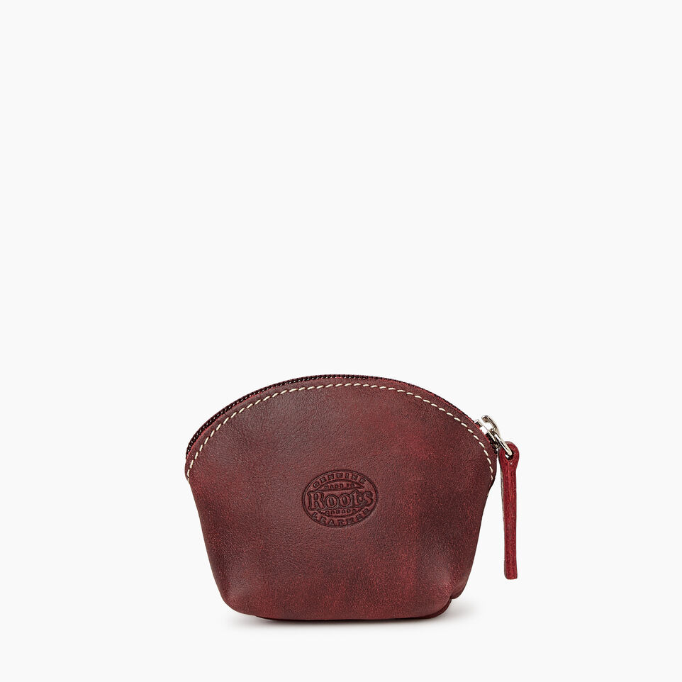 Roots-Women Leather Accessories-Small Euro Pouch-Crimson-B