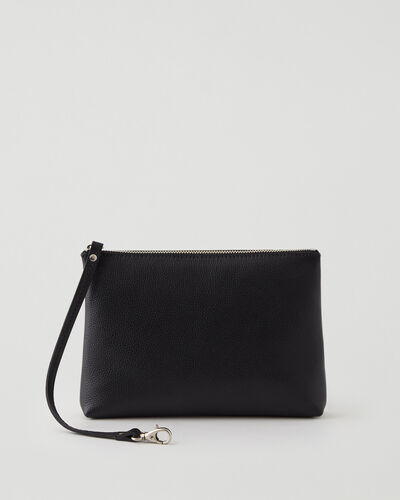 Roots-Leather Tech & Travel-Large Wristlet Cervino-Black-A