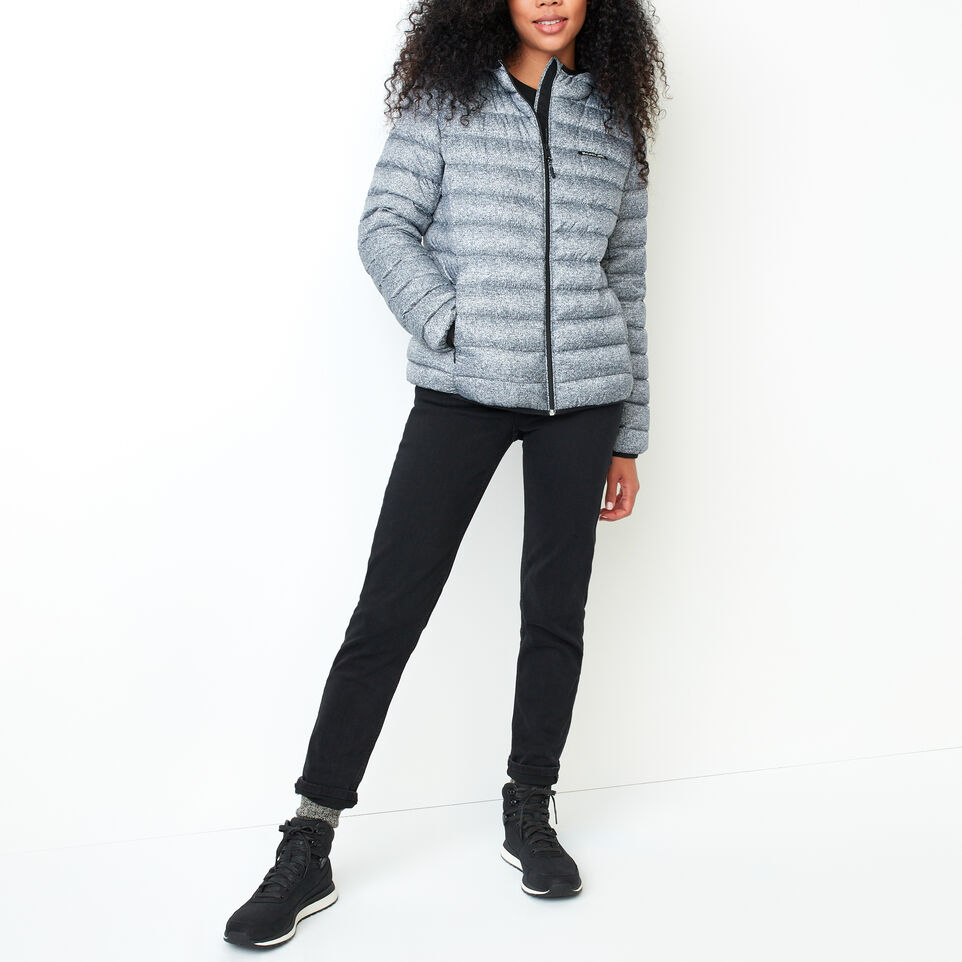 Roots-Women Outerwear-Roots Packable Down Jacket-Salt & Pepper-B