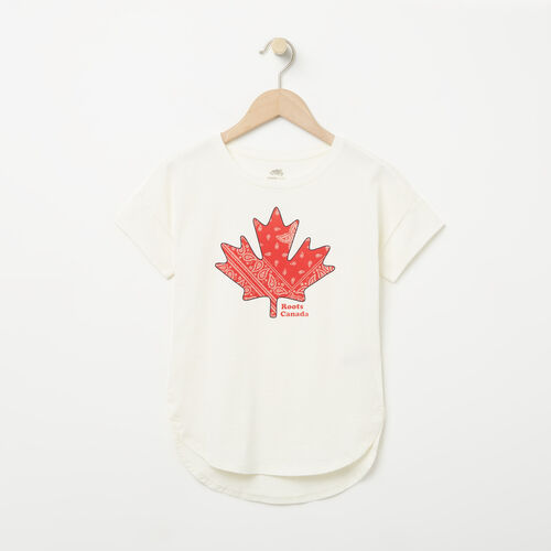 Roots-Kids New Arrivals-Girls Bandana Maple Top-Pristine White-A