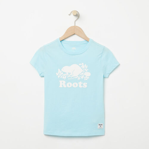 Roots-Kids Graphic T-shirts-Girls Cooper Beaver T-shirt-Corydalis Blue-A