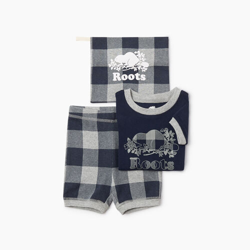 Roots-Kids Rompers & Onesies-Baby Plaid PJ Set-Navy Blazer-A
