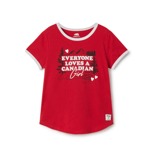 Roots-Kids New Arrivals-Girls Canadian Girl T-shirt-Sage Red-A