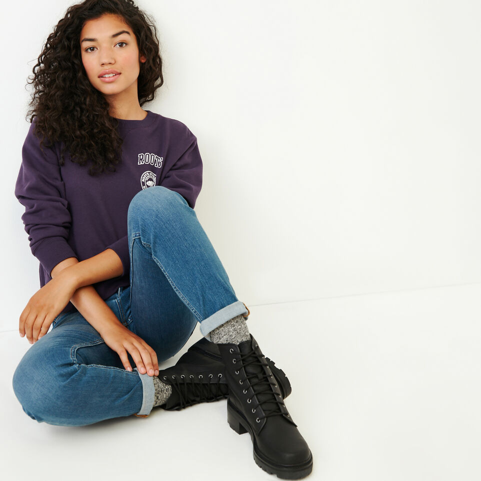 Roots-Women Our Favourite New Arrivals-Stamps Crew Sweatshirt-Night Shade-B