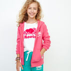 Roots-Clearance Kids-Girls Original Full Zip Hoody-Pink Flambé-A