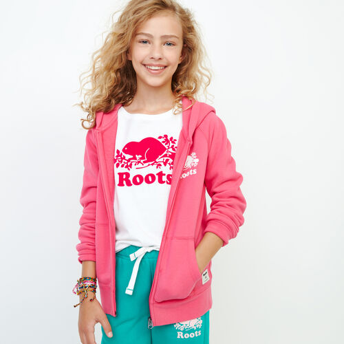 Roots-Sale Kids-Girls Original Full Zip Hoody-Pink Flambé-A