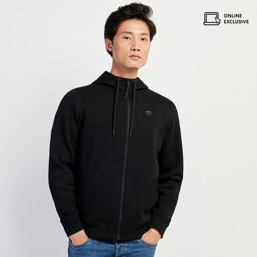 Roots-Men New Arrivals-Journey Scuba Zip Hoody-Black-A
