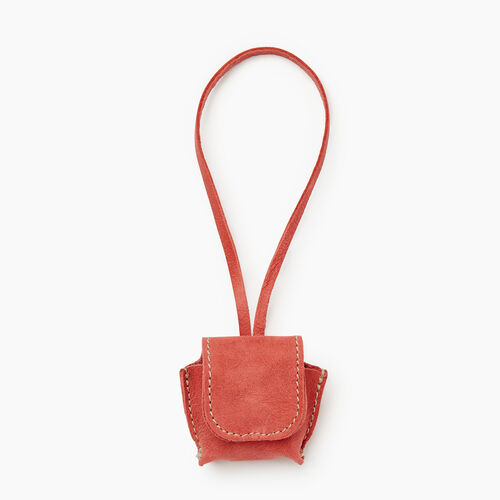 Roots-Leather Leather Accessories-Earbud Case Tribe-Coral-A