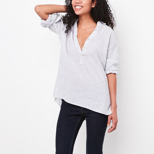 Roots-Women Tops-Renae Popover Shirt-Birch White-A