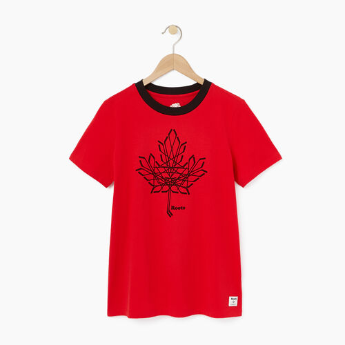 Roots-Winter Sale Tops-Womens Hockey Leaf T-shirt-Racing Red-A