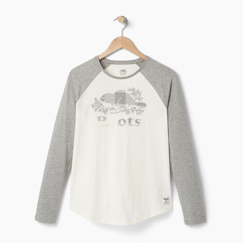 Roots-Women Graphic T-shirts-Womens Margaree Long Sleeve T-shirt-Grey Mix-A