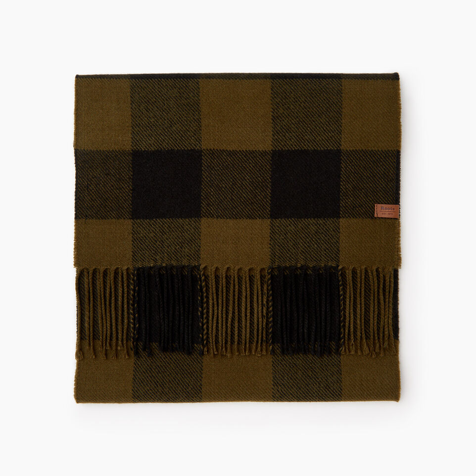 Roots-Men Our Favourite New Arrivals-Roots Park Plaid Scarf-Dark Olive Green-B