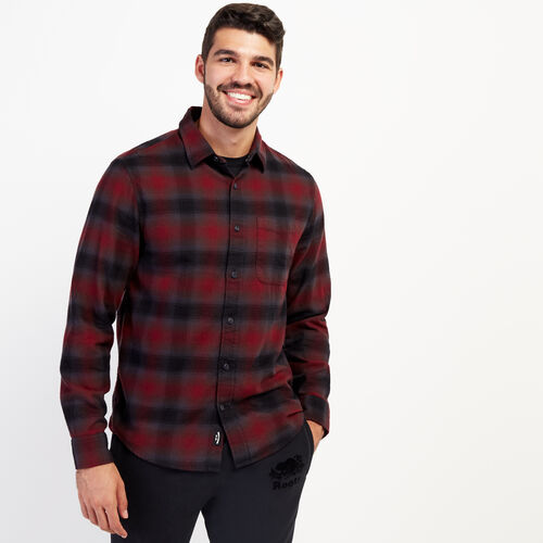 Roots-New For October Plaids-Wallace Flannel Shirt-Mulberry-A