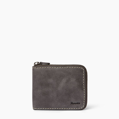 Roots-Men Wallets-Mens Zip Around Wallet-Charcoal-A