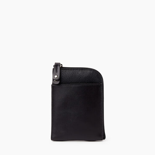 Roots-Leather Tech & Travel-Passport Phone Pouch Cervino-Black-A