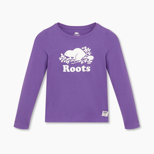 Roots-Gifts Gifts For Kids-Girls Original Cooper Beaver T-shirt-Deep Lavender-A