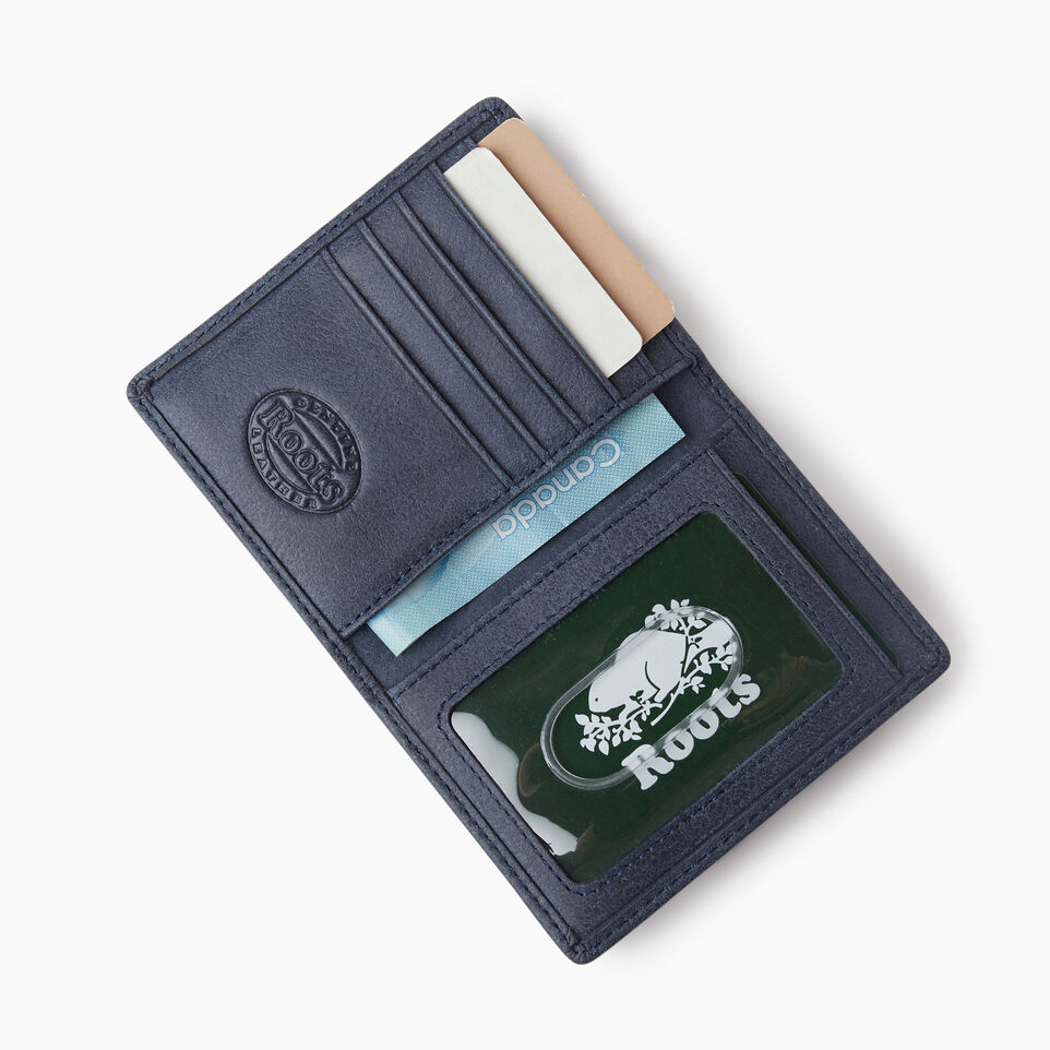 Roots-Leather Collections-Card Case With Id Tribe-Navy-C