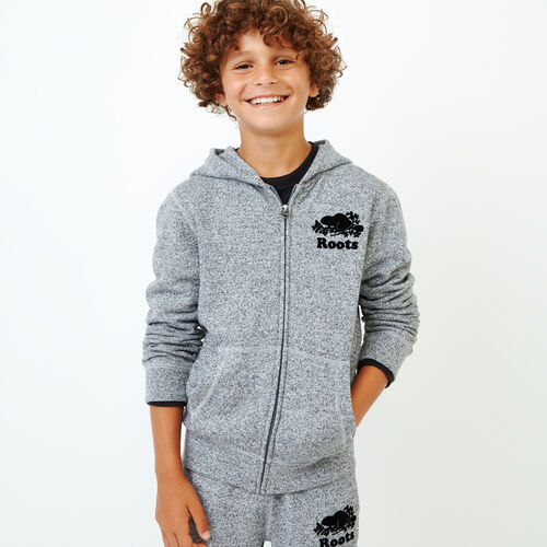Roots-Kids Sweats-Boys Original Full Zip Hoody-Salt & Pepper-A