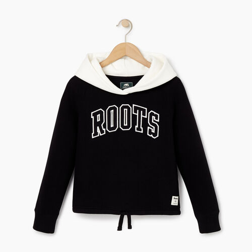 Roots-Kids Our Favourite New Arrivals-Girls 2.0 Colour block Raglan Hoody-Black-A