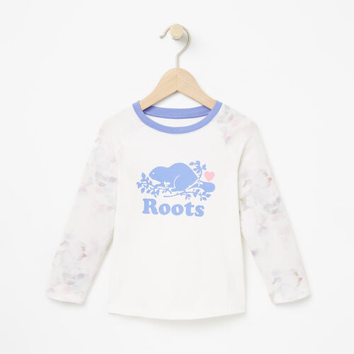 Roots-Kids T-shirts-Toddler Watercolour Baseball Top-Cloudy White-A
