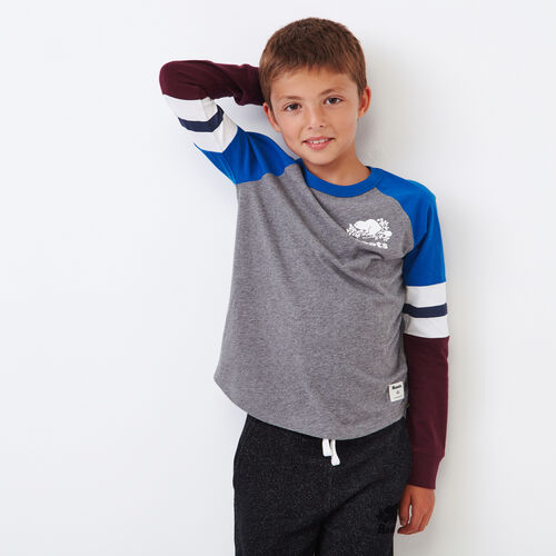 Roots-Kids Boys-Boys Cooper Beaver Raglan T-shirt-Medium Grey Mix-A