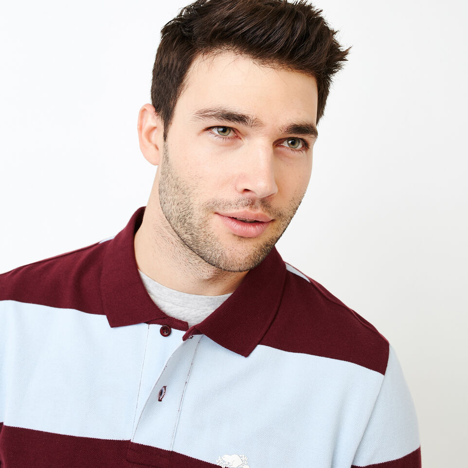 Roots-Men Categories-Heritage Striped Pique Polo-Northern Red-E