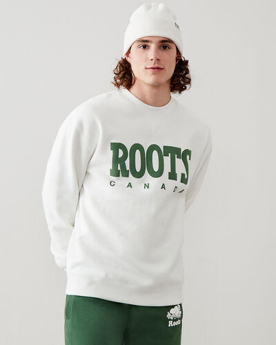 Roots-New For This Month Roots Retro-Retro Relaxed Crew Sweatshirt-Egret-A