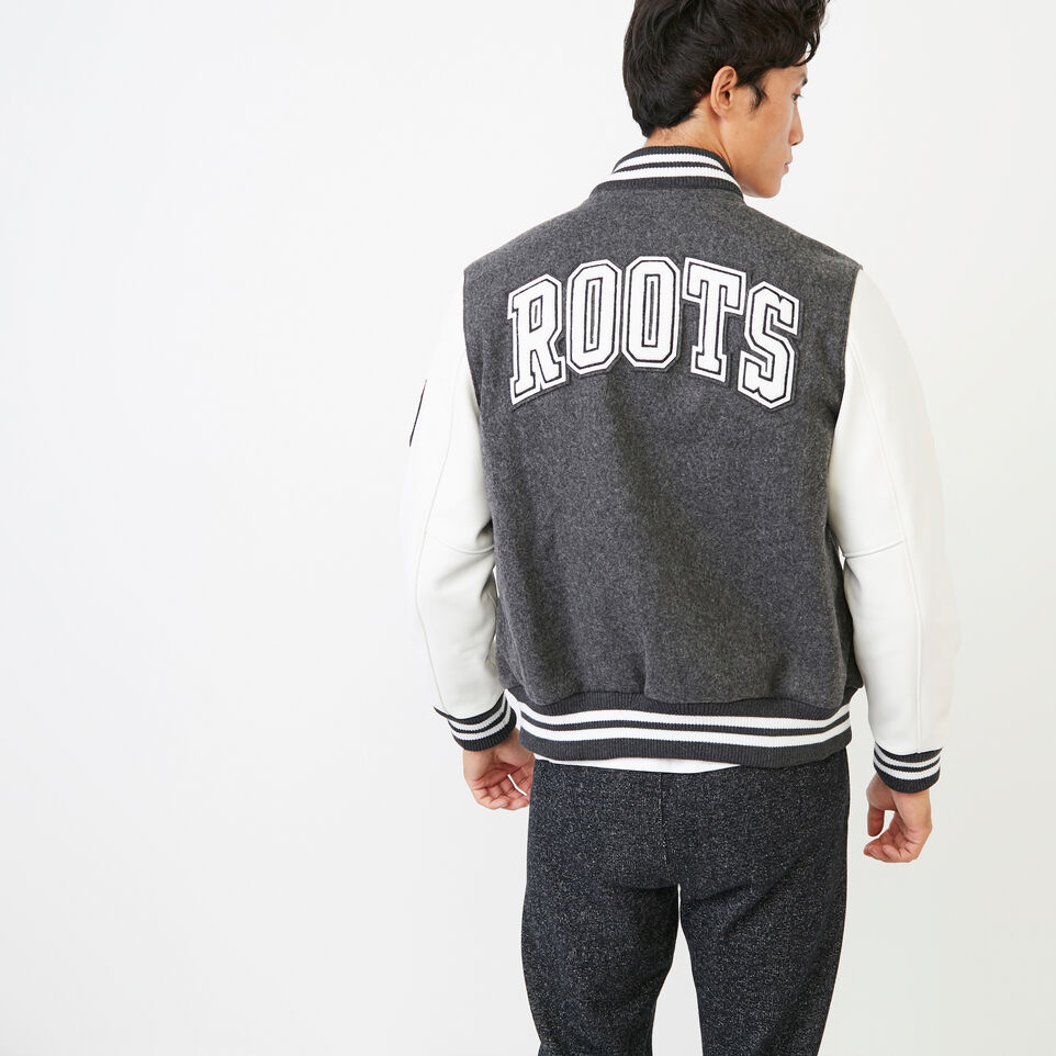 Roots-Men Award Jackets-Mens Hoody Award Jacket-Grey-D