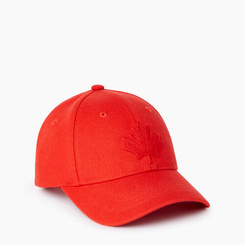 Roots-Kids Accessories-Kids Leaf Baseball Cap-Racing Red-A