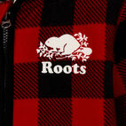 Roots-Kids New Arrivals-Girls Park Plaid Sherpa Zip Hoody-Cabin Red-D